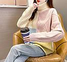 Свитер женский шерстяной комбинированный с высоким горлом зимний плотный теплый для девушки, фото 4