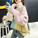 Свитер женский шерстяной комбинированный с высоким горлом зимний плотный теплый для девушки, фото 5