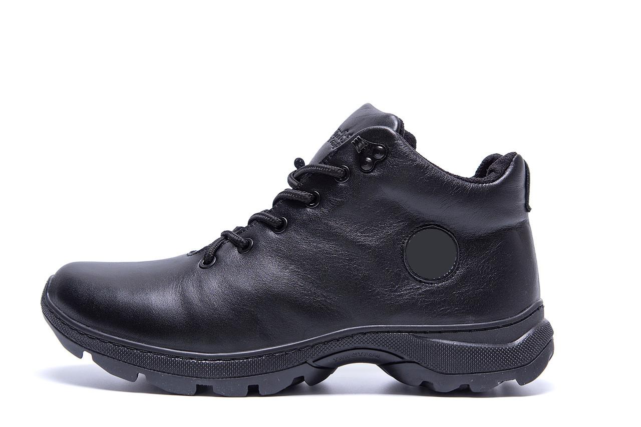 Чоловічі зимові шкіряні кросівки Black leather р.