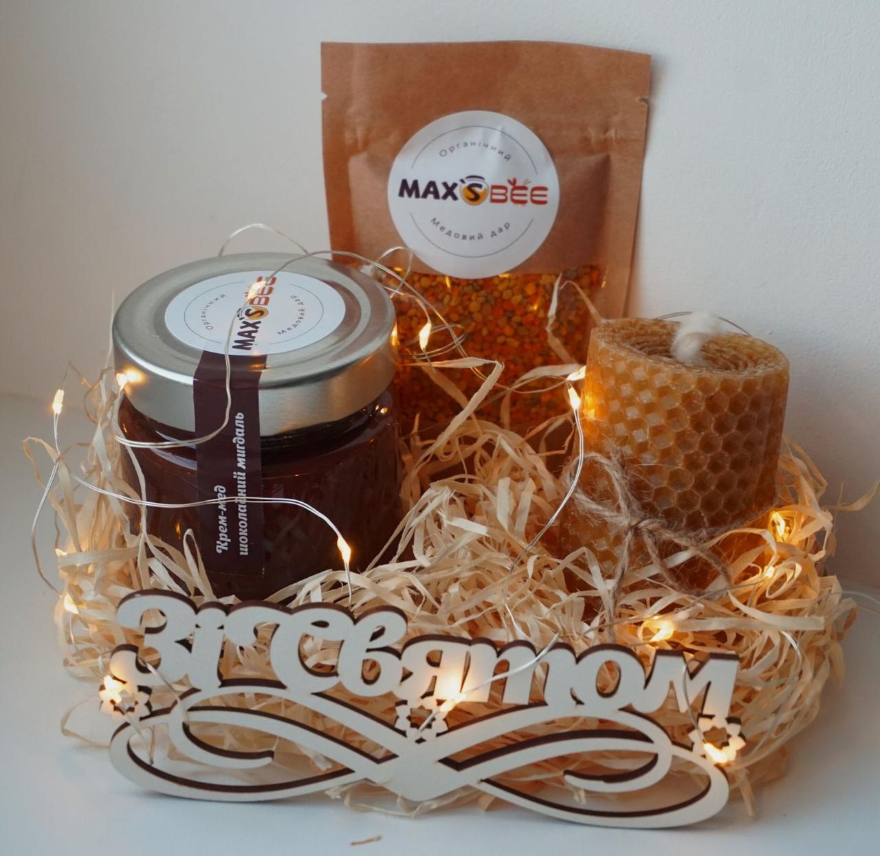 Святковий Медовий Набір на День Народження від Maxs Bee: Крем-Мед Шоколад + Мигдаль, Свічка. Пилок у подарунок