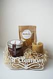 Святковий Медовий Набір на День Народження від Maxs Bee: Крем-Мед Шоколад + Мигдаль, Свічка. Пилок у подарунок, фото 2