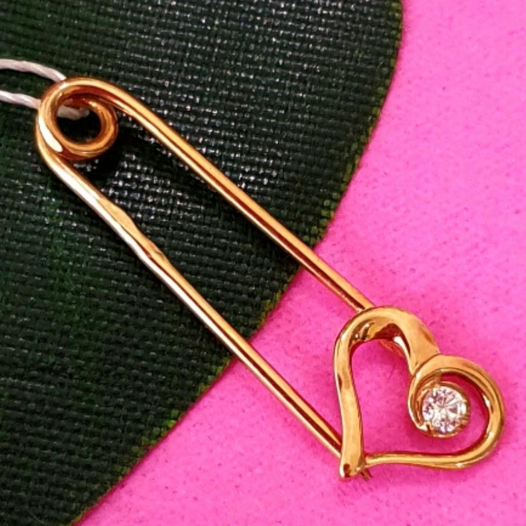 Золотая булавка с сердечком - Золотая булавочка сердце - Золотая булавка для девочки