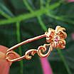 Булавка из золота 585 пробы - Женская золотая булавочка цветочек, фото 3