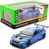 Детская машинка игровая автопром «BMW M6 GT3» металл, 20 см, свет, звук, двери открываются, синяя (68255B)