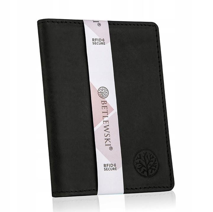 Чоловічий шкіряний гаманець Betlewski з RFID 13 х 9,5 х 1 (BPM-HT-M1) - чорний