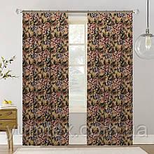 Шторы (готовый комплект 2 шт) ткань хлопок Испания крупные цветы фон бежевый 400412v1 с доставкой