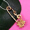 Булавка из золота 585 пробы - Женская золотая булавочка цветочек, фото 2