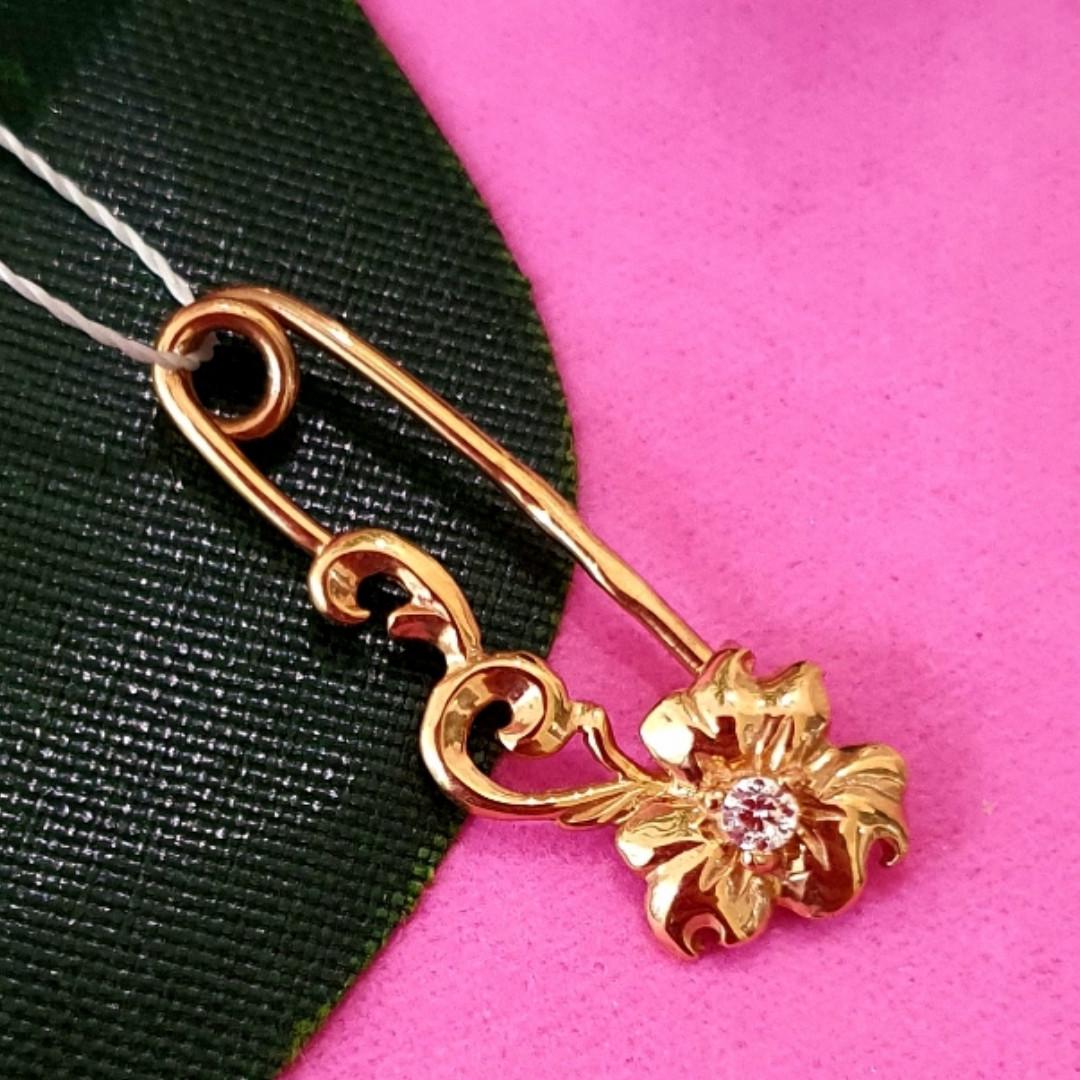 Булавка из золота 585 пробы - Женская золотая булавочка цветочек