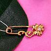 Булавка из золота 585 пробы - Женская золотая булавочка цветочек, фото 4