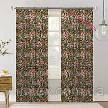 Шторы (готовый комплект 2 шт) ткань хлопок Испания крупные цветы фон зеленый 400412v4 с доставкой