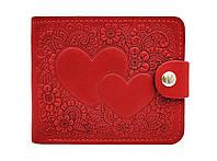 Элегантное портмоне-кошелек с отделением для фото тиснение Два Сердца красное