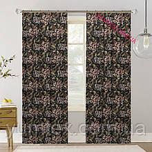 Шторы (готовый комплект 2 шт) ткань хлопок Испания крупные цветы фон черный 400412v6 с доставкой