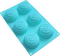 """Форма-планшет силиконовая """"Спираль"""" для евродесертов, выпечки кексов и маффинов 29.5х17.5см, 6 ячеек HH-976"""