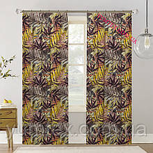 Шторы (готовый комплект 2 шт) ткань хлопок Испания коричневые и желтые листья 400418v7 с доставкой