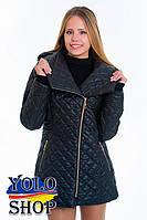 Женская стеганная куртка №14, плащевка, змейка, капюшон большой размер 42-62р