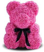 Мишка из 3D роз 25 см + красивая подарочная упаковка + подарок Розовый! лучшее качество