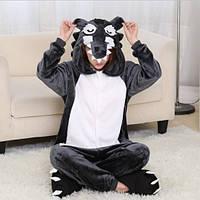 Пижама Кигуруми для взрослых Комбинезон с капюшоном для дома Оригинальный костюм Волк размер S ALMA-32-276043