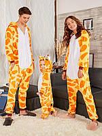 Пижама Кигуруми для взрослых Комбинезон с капюшоном для дома Оригинальный костюм Жираф для взрослого размер S
