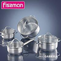 Набор кухонной посуды Fissman Gabriela, 3 кастрюли и ковш с мерной шкалой FN-SS-5816