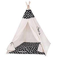 Детская игровая палатка домик Шатер для ребенка Вигвам для детей Xxl White/Black ALMA-41-277677