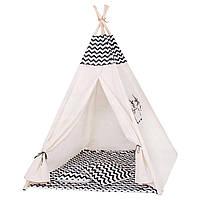 Детская игровая палатка домик Шатер для ребенка Вигвам для детей Xxl White/Black ALMA-41-277678