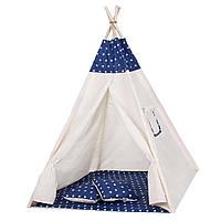 Детская игровая палатка домик Шатер для ребенка Вигвам для детей Xxl White/Blue ALMA-41-277684