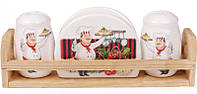"""Набор для специй """"Шеф-повар"""" два спецовника и салфетница на деревянной подставке BD-DM762-A"""
