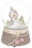 """Декоративный водяной шар """"Снеговичок с розовыми рукавицами"""" 14.5см, музыкальный BD-559-423"""