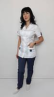 Жіночий медичний костюм Танго короткий рукав сорочкова тканина, фото 1
