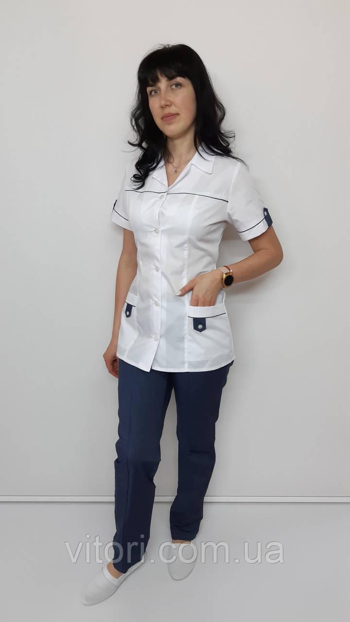 Жіночий медичний костюм Танго короткий рукав сорочкова тканина