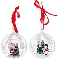 """Набор 4 подвески """"Санта и Снеговик"""" в стеклянном шаре, 8х7х8.5см BD-129-071"""