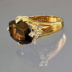Серебряное кольцо в позолоте с камнями гессонит и бриллиантами