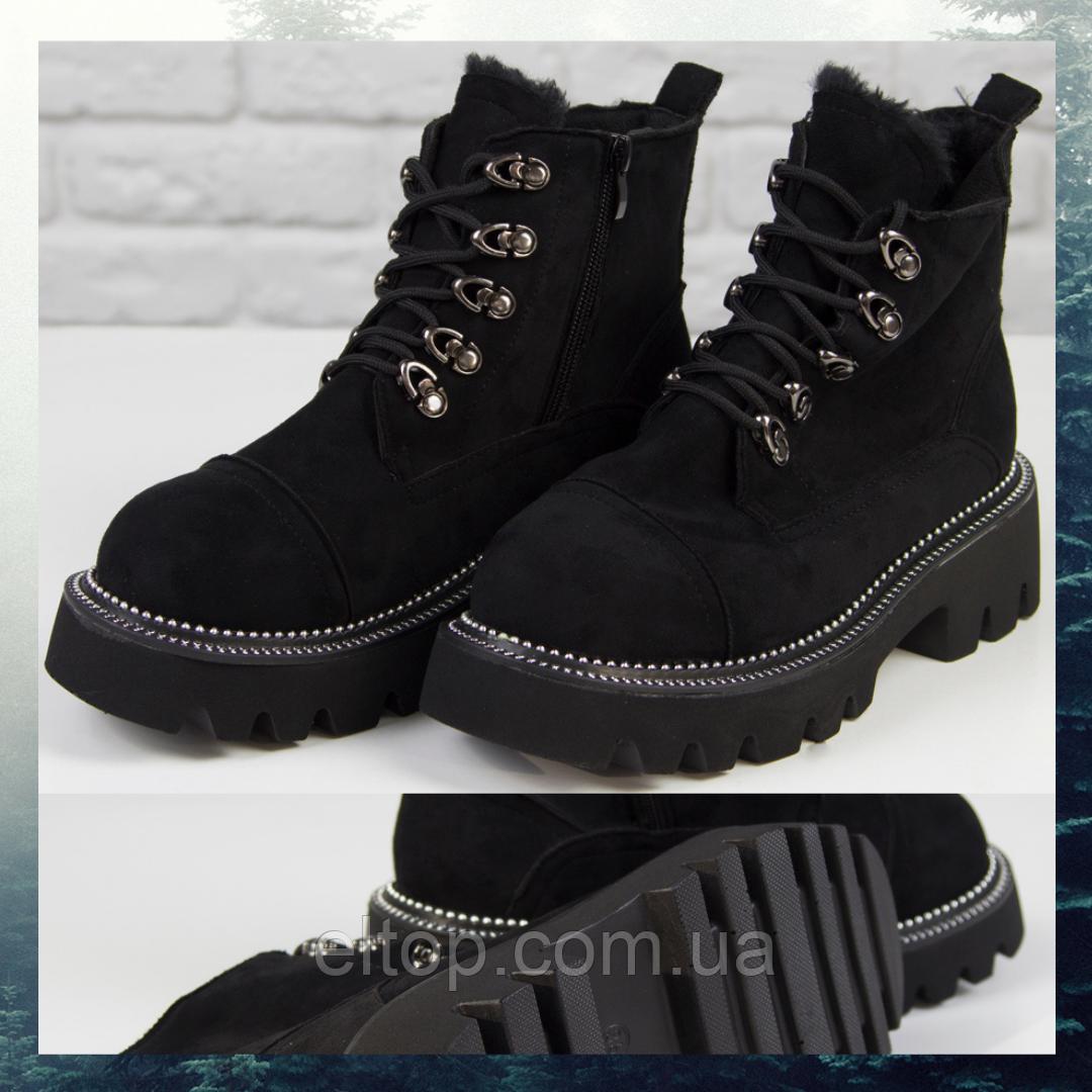 Модные женские ботинки зимние на платформе замшевые черные с мехом на шнуровке Loretta Размер 36 - 41