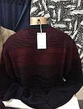 Турецкие мужские свитера свитшоты в полоску бордового цвета, фото 4