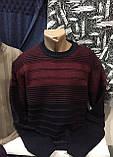 Турецкие мужские свитера свитшоты в полоску бордового цвета, фото 3