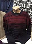 Турецкие мужские свитера свитшоты в полоску бордового цвета, фото 2