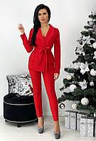 Женский брючный красный костюм-тройка, фото 1