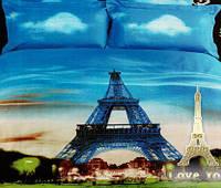 """Комплект постельного белья Love You Сатин 3D """"Париж"""" Евро LY-332-2"""