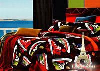 """Комплект постельного белья Love You Сатин 3D """"Ходики"""" Евро LY-209-2S"""