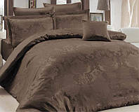Комплект постельного белья Nazenin Lisa Kahve Евро (4 наволочки), жаккардовый сатин SA-3492