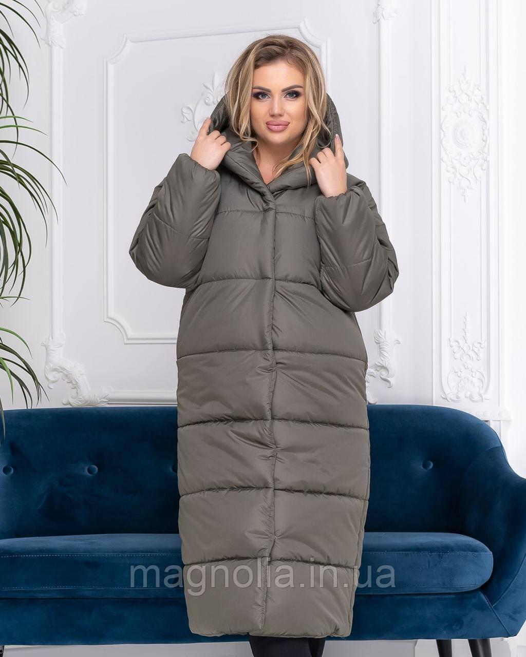 Зимняя теплая длинная БАТАЛ куртка пальто пуховик оверсайз одеяло с капюшоном плащевка + силикон