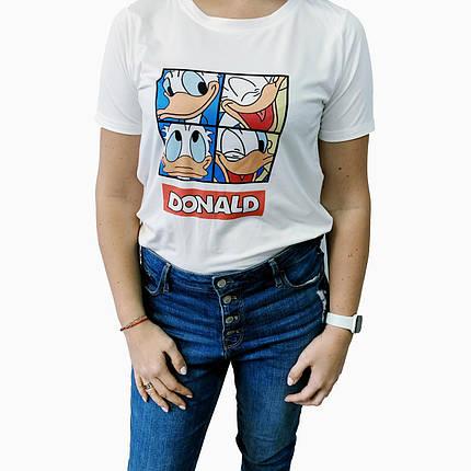 Женская футболка белая с модным рисунком принтом Дональд Дак, Том и Джери, Микки, фото 2