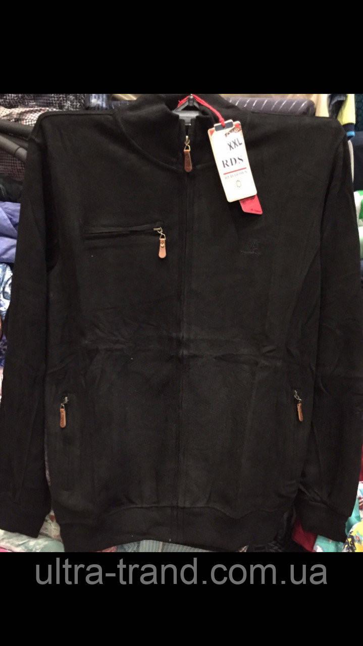 Турецкие мужские однотонные свитера кофты на молнии чёрного цвета большого размера