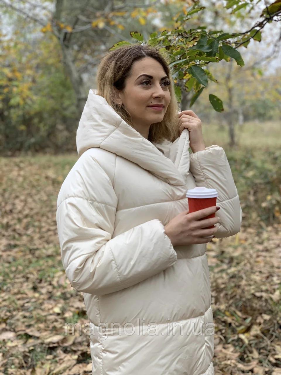 Тепла довга куртка пальто курточка пуховик з капюшоном плащівка + силікон 50-52