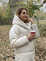 Тепла довга куртка пальто курточка пуховик з капюшоном плащівка + силікон, фото 1
