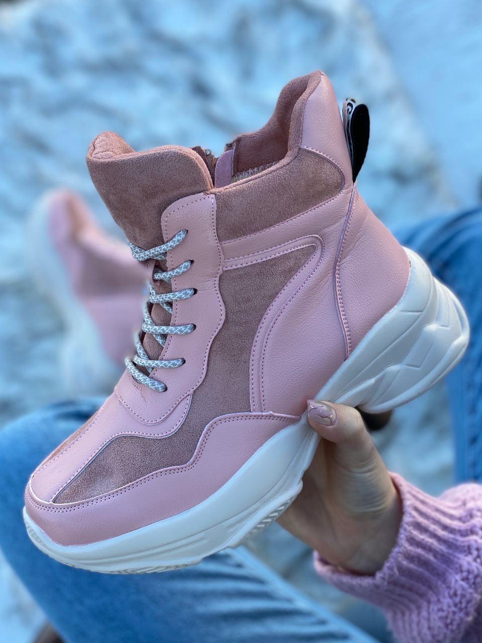 Ботинки женские зимние 6 пар в ящике розового цвета 36-40