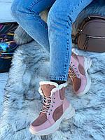 Ботинки женские зимние 6 пар в ящике розового цвета 36-40, фото 2