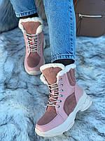 Ботинки женские зимние 6 пар в ящике розового цвета 36-40, фото 5