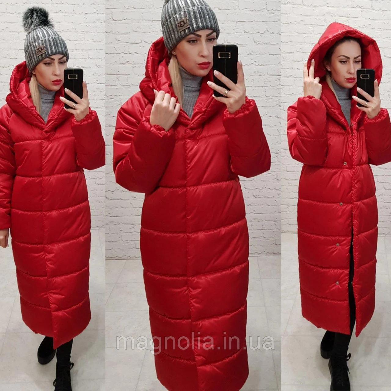 Длинная теплая зимняя куртка пальто пуховик оверсайз кокон одеяло плащевка + силикон 58-60