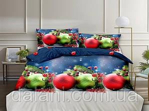 Семейный новогодний комплект постельного белья из ренфорса (с двумя пододеяльниками)